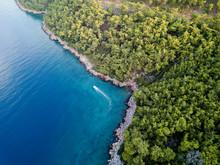 Aerial View Of Rocky Coastline...