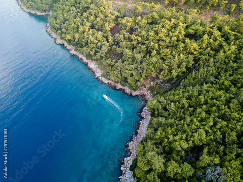 Fotografie, Tablou Aerial view of rocky coastline of Gokova Bay Mugla Turkey