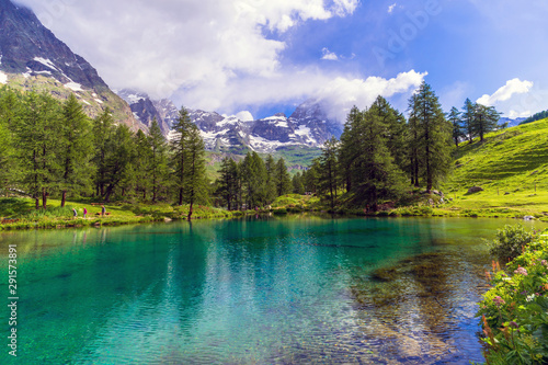 In de dag Canada Aosta Valley, Italy. View of the Lago Blu (Blue Lake) and the Cervino Mountain (Matterhorn) in the distance, near Breuil-Cervinia