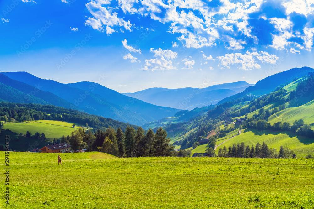 Fototapety, obrazy: Val di Funes, South Tyrol / Italy. The valley seen from Santa Maddalena