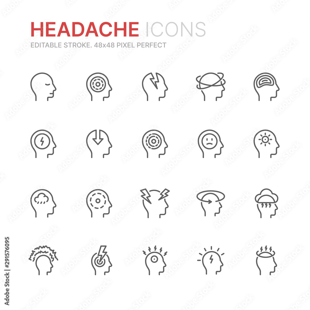 Fototapeta Collection of stress, headache and depression related line icons. 48x48 Pixel Perfect. Editable stroke