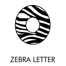 Logotipo Número 0 Con Patrón De Piel De Cebra En Blanco Y Negro