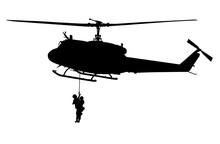 Army Medevac SAR 63 Helicopter, Rescue Helicopter With Wire Strike Protection System And People On The Rope, Silhouette
