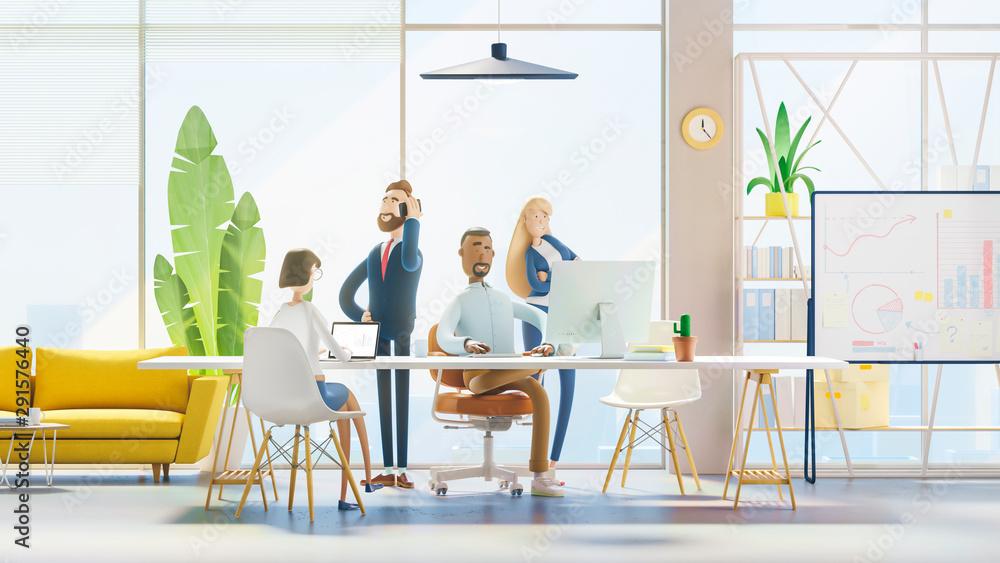 Fototapeta Concept of creative team. Modern office. 3d illustration.  Cartoon characters. Business teamwork concept.