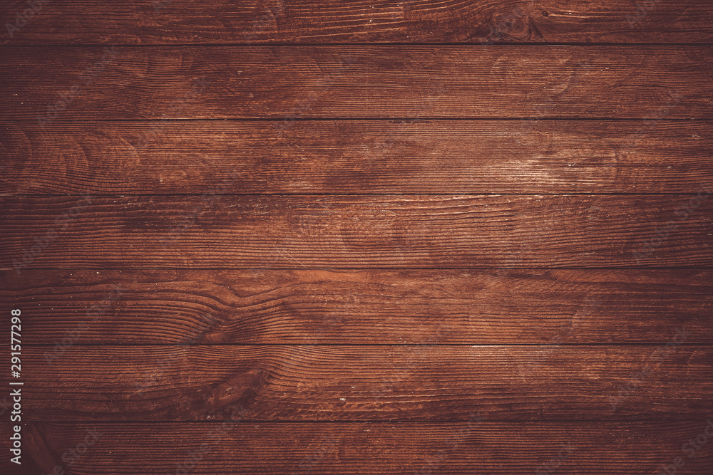 Dark wooden texture. Wood brown texture. Background old panels. Retro wooden table. Rustic background. Vintage colored surface. - obrazy, fototapety, plakaty