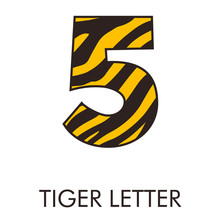 Logotipo Número 5 Con Patrón De Piel De Tigre En Amarillo Y Marrón