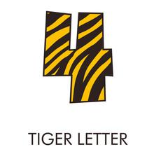 Logotipo Número 4 Con Patrón De Piel De Tigre En Amarillo Y Marrón