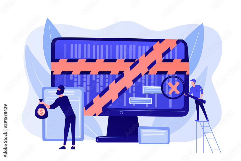 Fototapeta Cyber attack. Law enforcement. Criminal stealing money online. Computer forensics, digital forensic science, computer crime investigation concept. Living coral blue vector isolated illustration