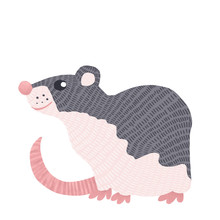 Grey Mouse On White Background. Cartoon Funny Rat Is Symbol Of New 2020 Year. Chinese Calendar Rat.