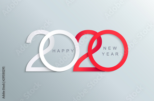 Fototapeta Happy 2020 new year elegant red and white greeting card for your seasonal holidays banners,flyers, invitations,christmas congratulations,banners,posters, placards, business diaries.Vector illustration obraz
