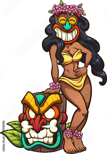 Printed kitchen splashbacks Indians Cartoon tan woman wearing a Tiki mask clip art. Vector illustration with simple gradients. All in a single layer.