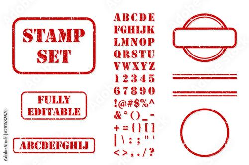 Valokuva Rubber Stamp Set Vector Kit