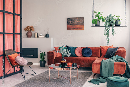 Obraz na plátně  Exquisite living room interior with modern furniture and wall with mullions
