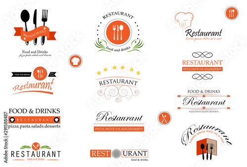 Canvas Print Food And Restaurant Logo Set - Isolated On White Background