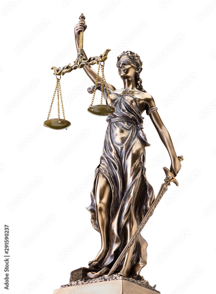 Fototapeta Statue of justice isolated on white background
