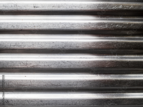 Scratched silver ridged corrugated metal panel Canvas