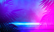 Leinwanddruck Bild - Empty scene in ultraviolet with rays and neon light. Abstract background, tunnel, room, corridor.