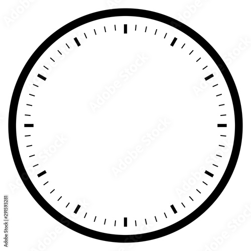 black empty clock isolated on white for pattern and design. Fototapete