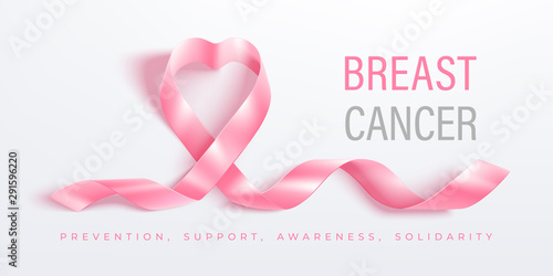 Breast cancer awareness month vector banner with pink ribbon Wallpaper Mural