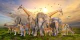 Fototapeta Sawanna - Large group of african safari animals. Wildlife conservation concept