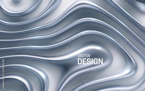 Fotografía Organic wavy silver stripes