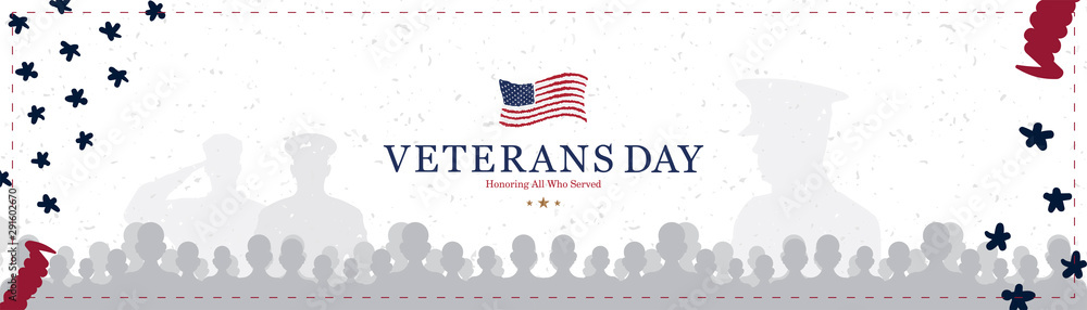 Fototapeta Veterans Day. Greeting card with USA flag on background with texture. National American holiday event. Flat vector illustration EPS10