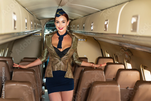Fotografia Portrait of smiling flight attendant serving in airplane