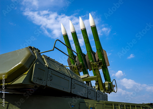 Photo Ballistic missile launcher with four cruise missiles on powerful mobile transpor