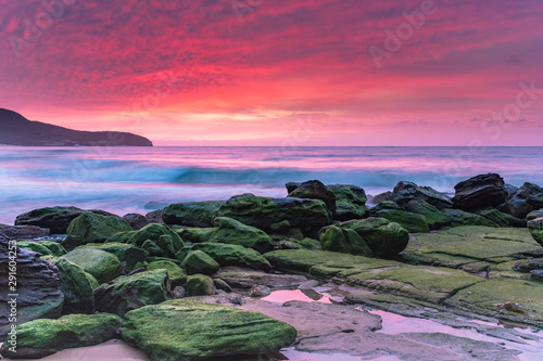 Soft Pink Sunrise Seascape and Green Mossy Rocks