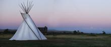White High Plains Tee Pee At Sunset