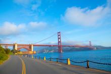 View Of Golden Gate Bridge Along The Coastline In San Francisco