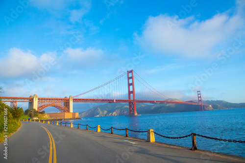 View of Golden Gate Bridge along the coastline in San Francisco фототапет