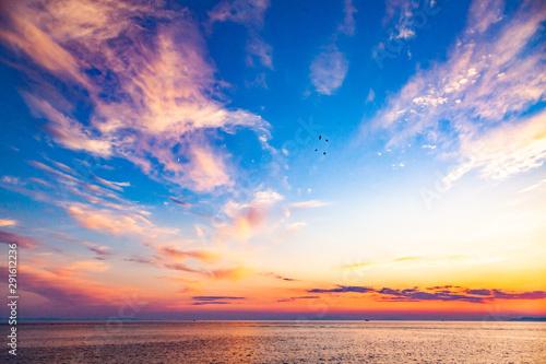 amazing sunset background over sea