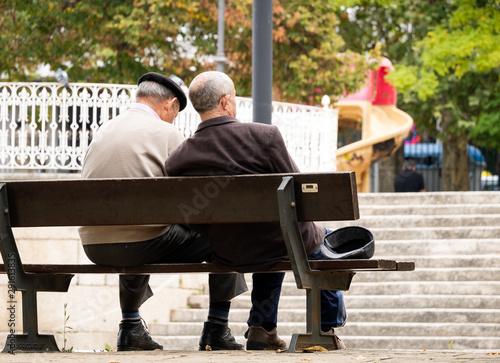 2 jubilados sentados en un banco del parque Canvas Print