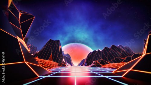 Fotobehang Fractal waves retro style vintage synth wave concept background with glowing lights and soft focus