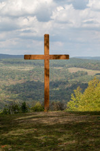 Large Wooden Cross In The Mountain, Cross Overlooking Valley
