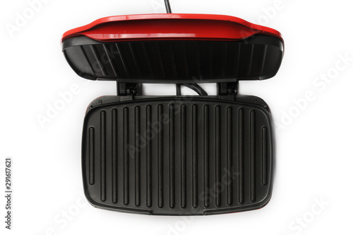 Valokuva  Electric grill for home use on a white background