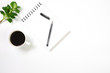 canvas print picture - Flat lay, top view office table white desk. Workspace with notepad, pen, green leaf, and coffee cup on white background.