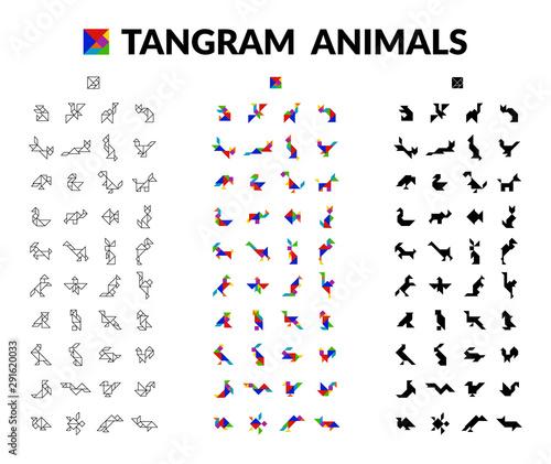 Set Of Tangram Animals Brain Game for children