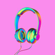 canvas print picture - Gradient metal headphone Icon on Candy Style Pink Background. 3D Illustration of Music, Play, Song, Start, Icons for Presentation.
