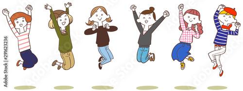 Fototapeta  ジャンプする6人の若い女性