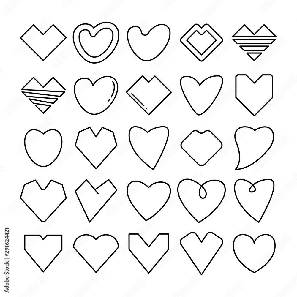 Fototapeta love heart icons line design