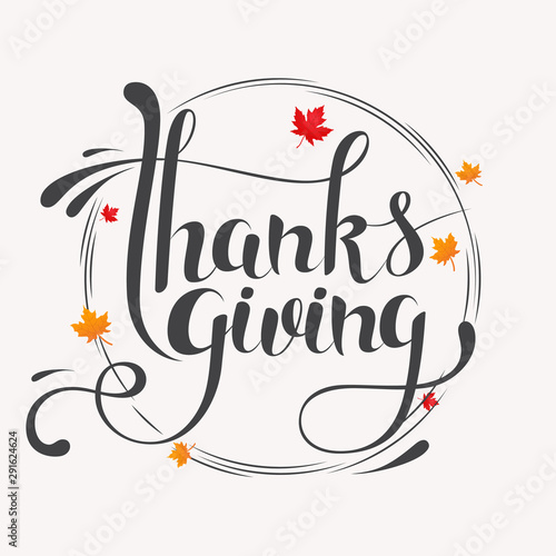 Hand drawn Happy Thanksgiving typography lettering poster Fototapet