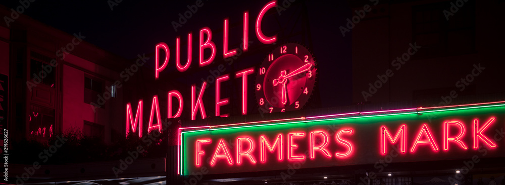 Fototapety, obrazy: Public market sign in Seattle