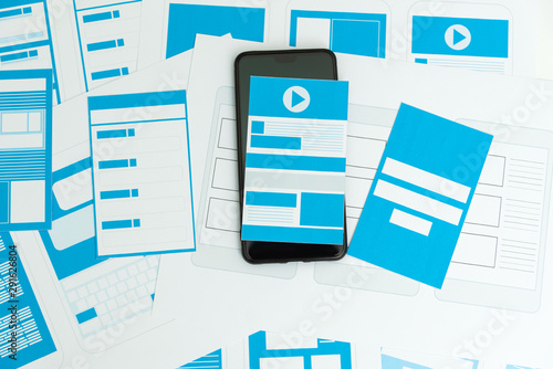 Developing wireframe UX/UI mobile application design. Canvas Print