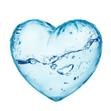 Heart from water splash with wave isolated on white