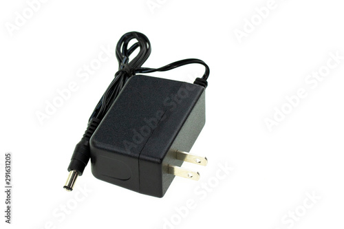 Image of Black Electric power adapter isolated on white background Fototapet
