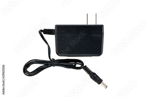 Canvastavla Image of Black Electric power adapter isolated on white background