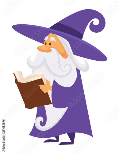 Платно Magician or wizard with book of spell or charm, isolated character
