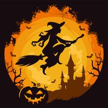 Halloween Witch Theme Logo Vector